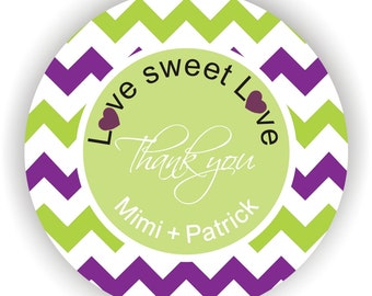 Love Sweet Love - Chevron Design - Personalized circle stickers - Set of 5 sheets - Wedding - Monogram - Bridal Shower - Thank You