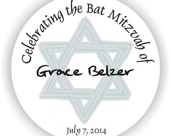 Bat Mitzvah Stickers - Personalized Circle Stickers - Set of 5 sheets - Address Labels - Envelope Seal - Jewish Star of David - Favor Tags