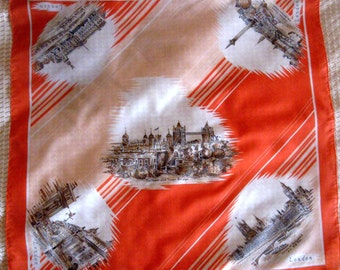 Vintage Souvenir Scarf London England Coral Orange Brown 1970s