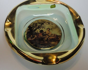 Vintage Green Glass with Gold and Lover's Scene Made in Italy
