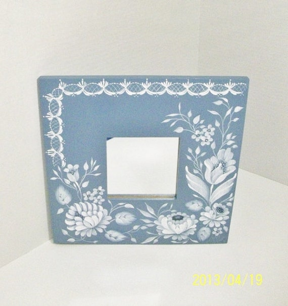 Hand Painted Ikea Mirror, White Strokework on Blue