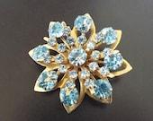 Blue Rhinestone Vintage Brooch Womens Jewelry Accessories Costume Jewelry 1950s