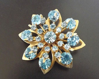 Blue Rhinestone Vintage Brooch Womens Jewelry Accessories Costume Jewelry 1950s