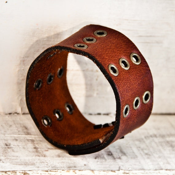 Gifts For Him Vintage Leather Cuff for Men Handmade Jewelry OOAK
