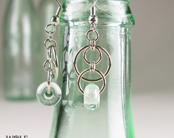 Chandelier Earrings Recycled Glass Sun Drop Earrings Beach Jewelry