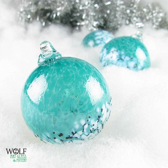 Blown glass christmas ornament suncatcher deep teal blue green