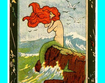s455 Vintage ART NOUVEAU MERMAID Trade Card Mermaid Fabric Block for Mermaid Quilt Fabric.