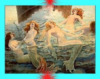 s36 Vintage Victorian Mermaids illustration Fabric Print Panel Applique Block for Quilting.