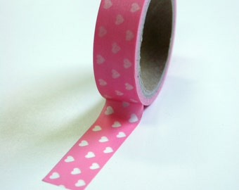 Washi Tape - 15mm - Pink Hearts Design - Deco Paper Tape No. 576