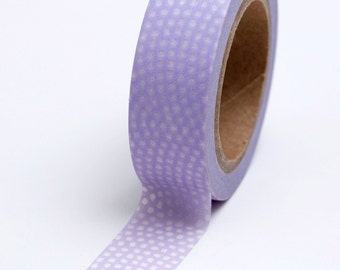 Washi Tape - 15mm - White Dots on Lavender - Deco Paper Tape  No. 752