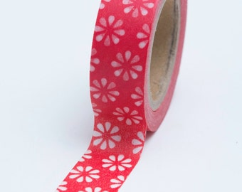Washi Tape - 15mm - White Simple Daisies on Red - Deco Paper Tape - No. 677