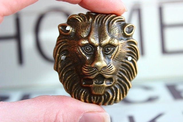 Metal Lion Head Drawer Knob Cabinet Pull In Brass Mk146