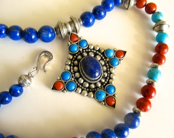 Lhasa Star - Himalayan Necklace in Lapis, Turquoise, Coral, and Silver