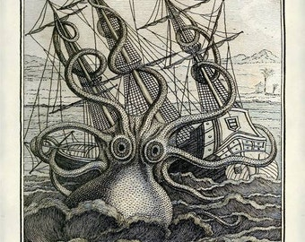 Instant Download Octopus  Sea Warfare  Illustration Sailing Ship Attack You Print Digital Image