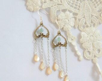 Victorian Style Bridal Earrings, Stone Chandelier Wedding Earrings,statement earrings