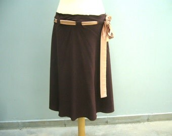 Brown handmade belted skirt