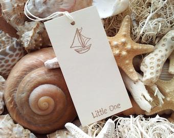 Baby Shower Mini Wish Tags Sailboat Its a Boy Nautical Theme Set of 30