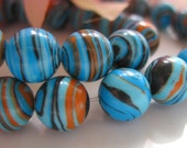 Striped Turkey Turquoise 8mm Round Beads Blue Orange Brown and Black 7.5in (19cm) 24pcs
