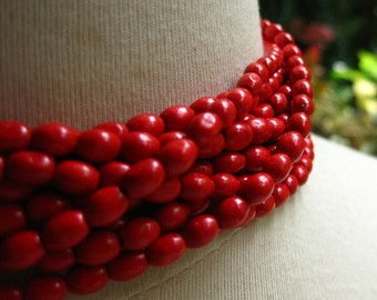 Wooden Bright Red Oval Rice Beads 6mm by 4mm 8 inches (20cm)