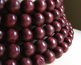 12-13mm Vintage Cherry Red Wood Beads 6pcs