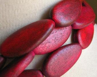 Magenta Wooden Teardrop Beads 14-16mm by 32-33mm 2pcs