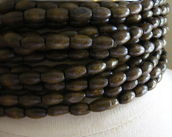 Dark Chocolate Brown Finish Oval Rice Beads 9mm by 6mm 8 inches (20cm)