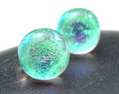 Dichroic Glass Stud Earrings, Sparkling Fused Glass Green Mermaid Tears, Sterling Silver, Titanium, Surgical Steel, Hypoallergenic