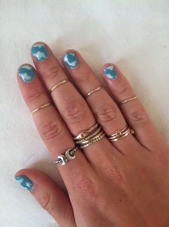 Gold Filled Midi Ring Set (Set of 4)-HAND HAMMERED