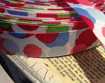 """3 YARDS 7/8"""" Watercolor BRUSH Dots grosgrain ribbon"""