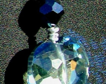 BLUE HEART Necklace, Swarovski crystal, Long, smoky-blue heart, black silk, adjustable, ooak, RedRobinArt