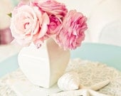 Rose still life,Shabby chic home decor, fine art print, spring home decor, cottage decor, pastel photograph, pink, aqua, white