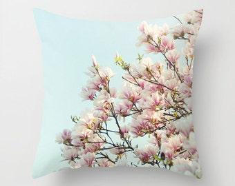 "Floral pillow,18x18 or 22x22 ""Pink Magnolias"", spring blossoms,flowers,cottage decor,pink,aqua,pastel pillow,summer decor,photo pillow"