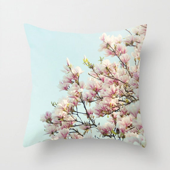 "Floral pillow,18x18 or 22x22 ""Pink Magnolias"", spring blossoms,flowers,cottage decor,pink,aqua,pastel pillow,summer decor,photo pillow"