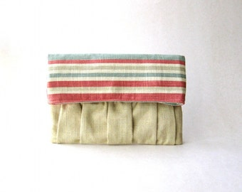 SALE - Clutch, Fold Over, pouch, handbag - Delicada Fold Over Clutch in soft yellow Linen and pink and light blue linen fabric