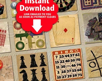 Parlour Games / Classic Board Games / Chess / Playing Cards - Printable INSTANT DOWNLOAD 1x1 Inch Square Tiles Digital JPG Collage Sheet