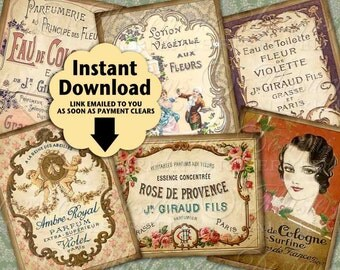 French Perfume Labels Printable Hang Tags / Parfum / Perfume Vintage - Printable Tags, Gift Tags, Price Tags, Download JPG Collage Sheet
