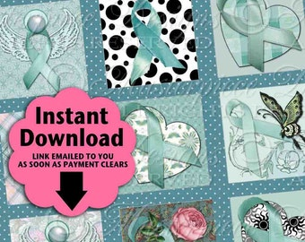 Ovarian Cancer Awareness Ribbons / Teal Blue Ribbons Roses - Printable INSTANT DOWNLOAD 1x1 Inch Square Tiles Digital JPG Collage Sheet