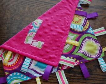 taggie, blanket, personalized, gift, baby, girl, purple, pink, flower, lovey, minky, ribbon, sensory