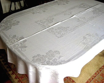 DAMASK TABLECLOTH Vintage Supple Off  White Smooth Iris Flowers Lovely 78""