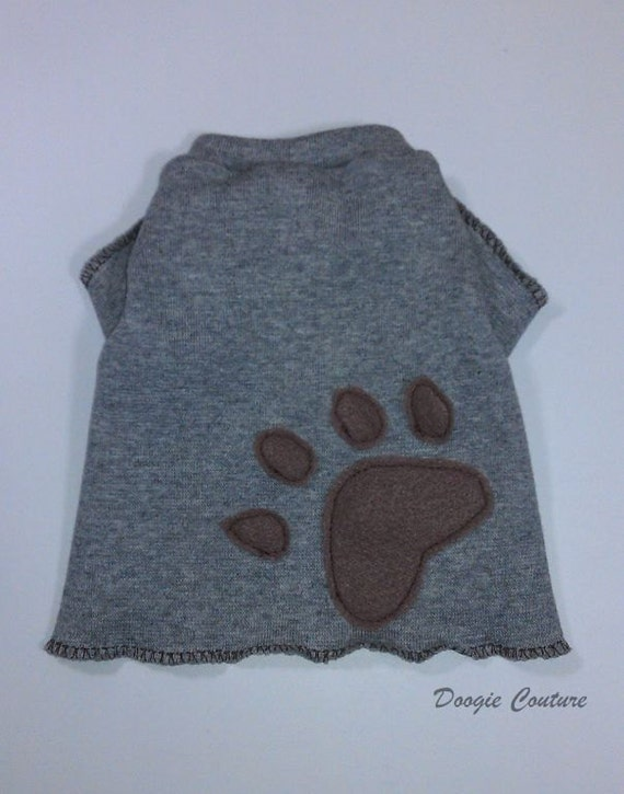 Handsome Grey Paw Male Dog T-Shirt Clothes Size XXXS-Medium by Doogie Couture