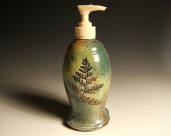 soap dispenser lotion pump, green leaf stoneware with rabbitfoot ferns