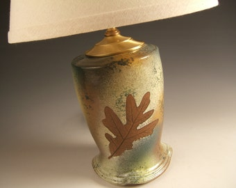 green ceramic table lamp  with shade in green leaf glaze, available by order
