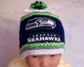 Hand made knit NFL Seattle SEAHAWKS baby hat 0-12M-  Team Colors cute gift photo prop