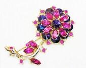 Edlee Blue Rivoli and Bright Pink Flower Brooch