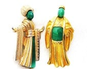 Jade Glass Oriental Man and Woman Figural Brooches