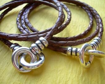 His and Hers Set of  Infinity Bracelets, Leather Bracelet, Triple Wrap, Saddle Braid, Infinity Jewelry, Mens Bracelet, Womens Bracelet,