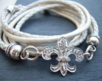 Crystal Fleur De Lis Leather Bracelet,Antique Silver, Metallic Pearl,Triple Wrap,Womens Jewelry,Leather Bracelet,Womens Bracelet