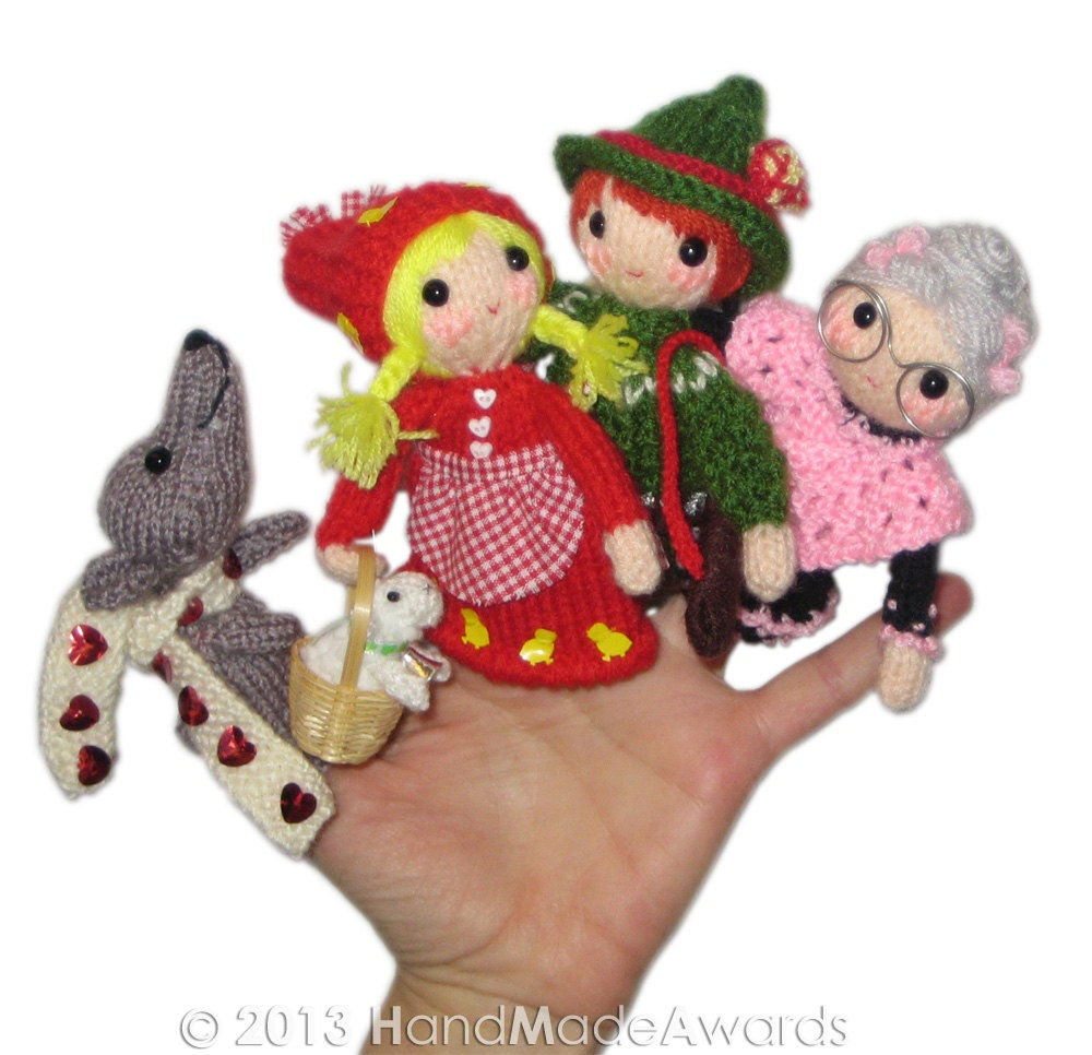 Knitting Patterns For Finger Puppets Free : LITTLE Red Riding Hood Finger Puppets PDF Email knit PATTERN