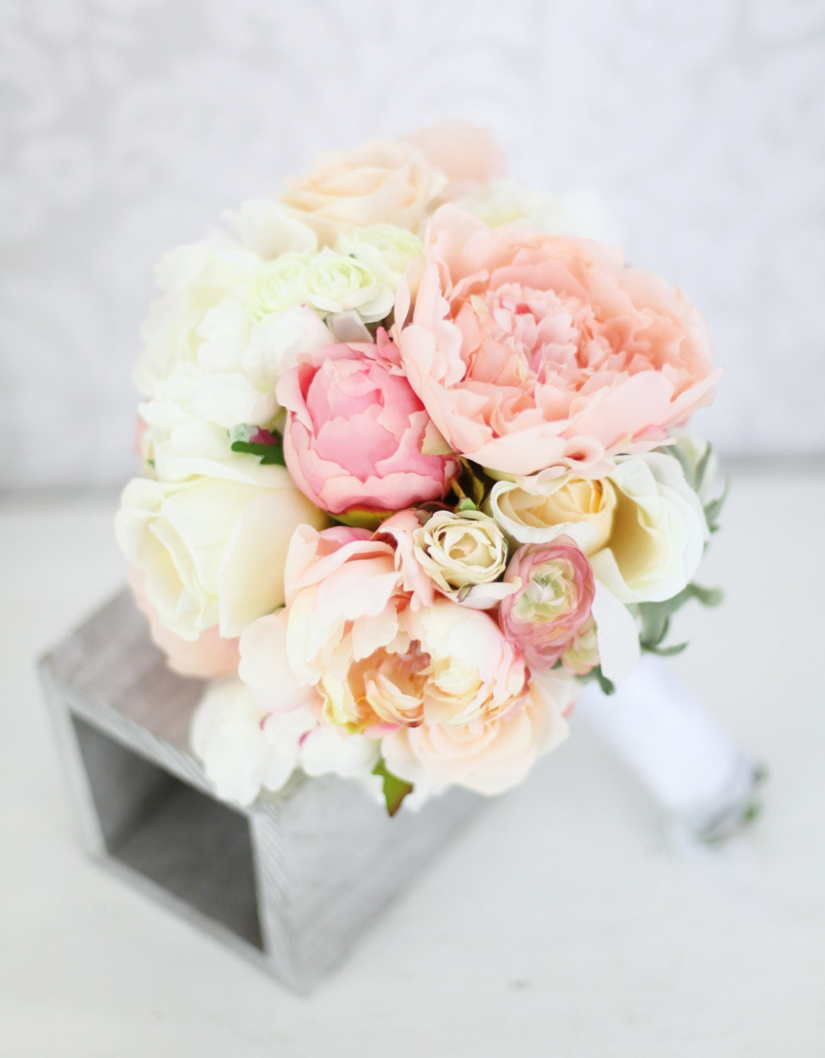 Silk bride bouquet peony flowers pink peach cream by for Bouquet chic