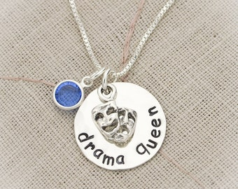 Drama Queen with Birthstone Choice Personalized Hand Stamped Necklace